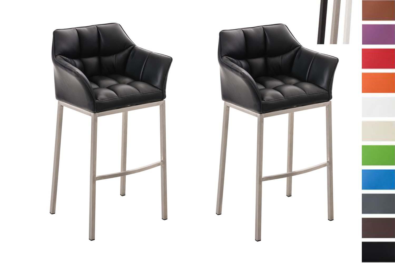 Dettagli su Set 2 Sgabelli Bar DAMASO Sedie Alte Banco Design Similpelle Braccioli Imbottiti