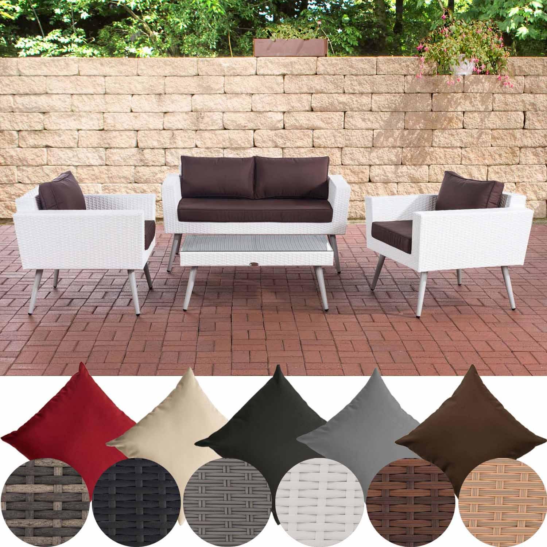 Détails sur Salon de Jardin en Resine Tressée Kiruna Blanc Set Table et  Chaises de Jardin